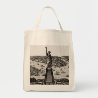 Statue Of Liberty In New York Harbor Grocery Tote Bag