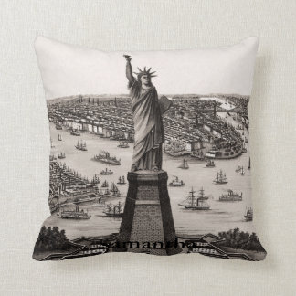 Statue Of Liberty In New York Harbor Throw Pillow