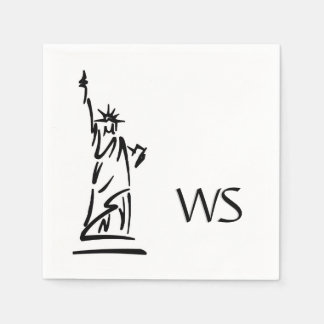 Statue of Liberty Initialized Standard Cocktail Napkin