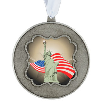 Statue of Liberty Scalloped Pewter Christmas Ornament