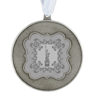 Statue of Liberty Scalloped Pewter Ornament