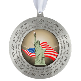 Statue of Liberty Round Pewter Christmas Ornament