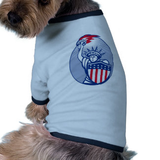 statue of liberty lady with torch american shield dog clothes