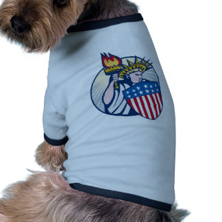 statue of liberty lady with torch and shield dog t shirt