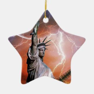 Statue of Liberty Lightening. Ceramic Ornament
