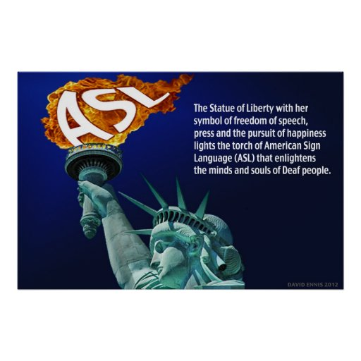 """Statue of Liberty Lights Her Torch for ASL 36""""x24"""" Print"""