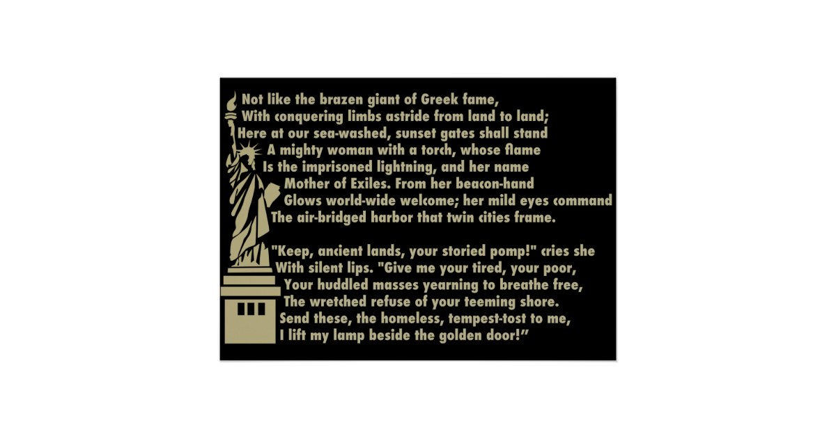 Statue Of Liberty New Colossus Patriotic Poem Poster Zazzlecom