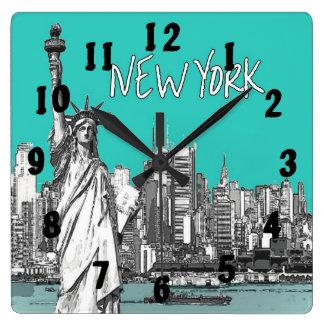 Statue of Liberty New York America Teal Square Wallclocks