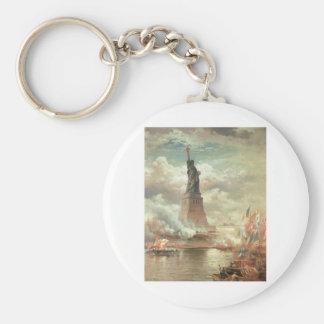 Statue of Liberty, New York circa 1800's Basic Round Button Keychain