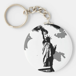 Statue of Liberty New York City Basic Round Button Keychain