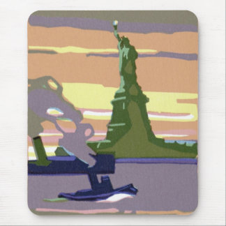 Statue of Liberty, New York City, Vintage Travel Mouse Pad