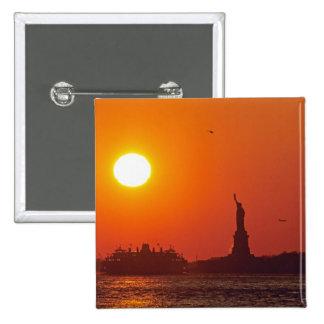 Statue of Liberty, New York Harbor, NY, USA, Pinback Button