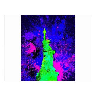 Statue of Liberty, New York Splash Painting Postcard