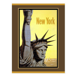 statue of liberty new york travel poster postcard