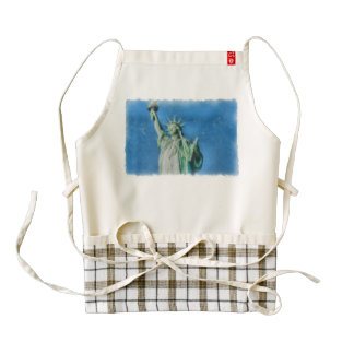 Statue of liberty, New York watercolors painting Zazzle HEART Apron