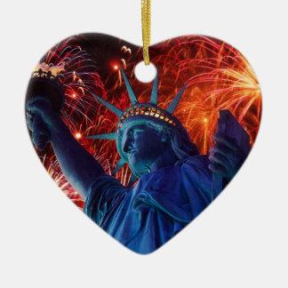 Statue_Of_Liberty_ NewYork _Harbor. Adorno Navideño De Cerámica En Forma De Corazón