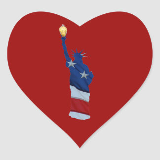 Statue of liberty on any color heart sticker