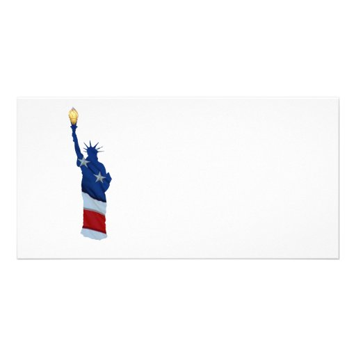 Statue of liberty on any color customized photo card