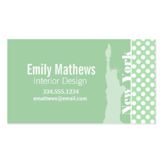 Statue of Liberty on Celadon Green Polka Dots Business Cards