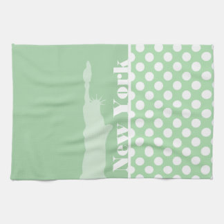 Statue of Liberty on Celadon Green Polka Dots Hand Towels