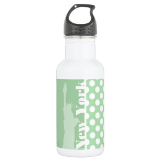 Statue of Liberty on Celadon Green Polka Dots Stainless Steel Water Bottle