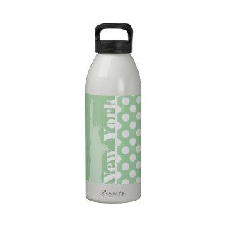 Statue of Liberty on Celadon Green Polka Dots Reusable Water Bottles