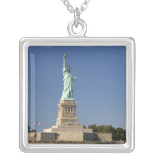Statue of Liberty on Liberty Island in New 2 Square Pendant Necklace