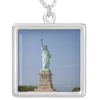 Statue of Liberty on Liberty Island in New Square Pendant Necklace