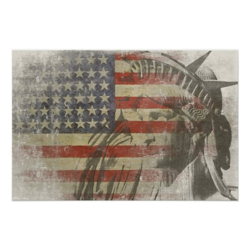 Statue of Liberty on Vintage American Flag Posters