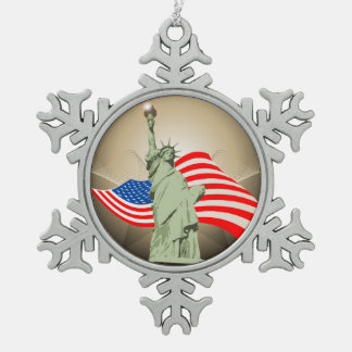 Statue of Liberty Snowflake Pewter Christmas Ornament