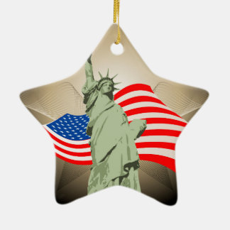 Statue of Liberty Double-Sided Star Ceramic Christmas Ornament