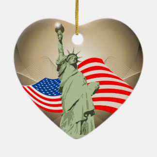 Statue of Liberty Double-Sided Heart Ceramic Christmas Ornament