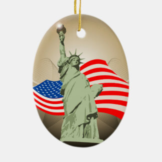 Statue of Liberty Double-Sided Oval Ceramic Christmas Ornament