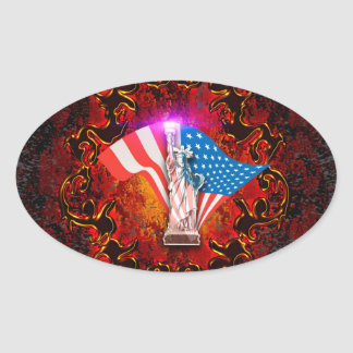 Statue of Liberty Oval Sticker