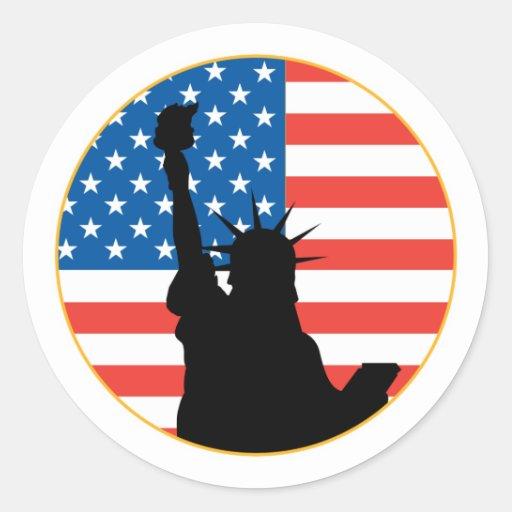 Statue Of Liberty Patriotic Design Round Stickers