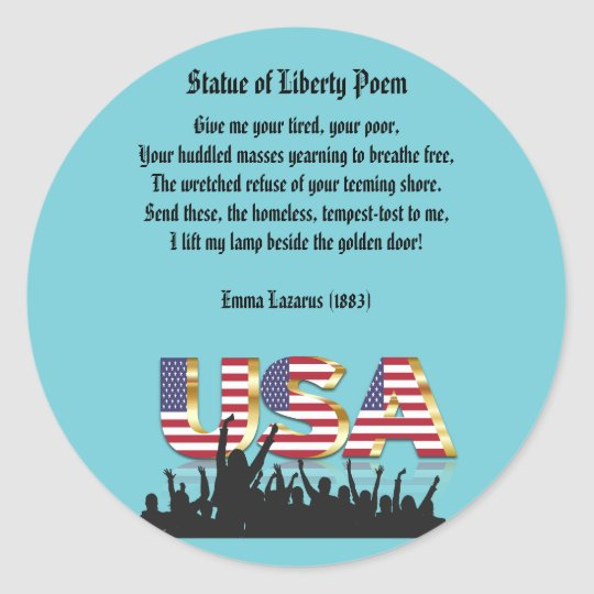 Statue Of Liberty Poem A Nation Of Immigrants Classic Round Sticker