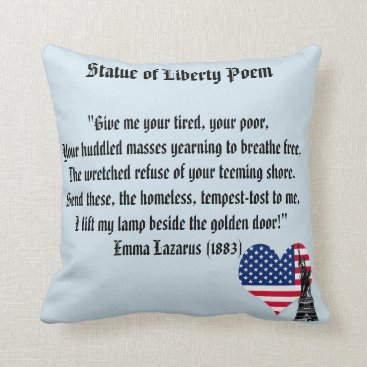 USA Themed Statue of Liberty Poem Throw Pillow