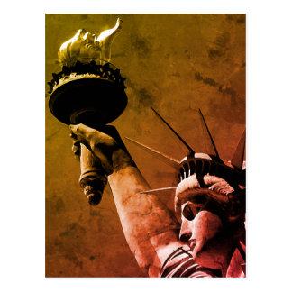 Statue of Liberty Pop Art Autumn Colors Postcard