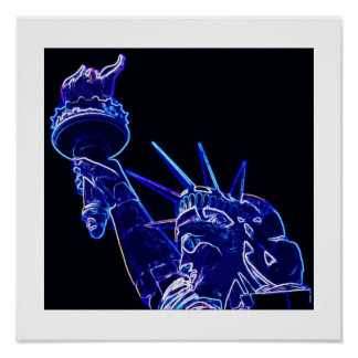 Statue of Liberty Poster Print with White Borders