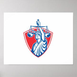 Statue of Liberty Raising Justice Scales Retro Poster