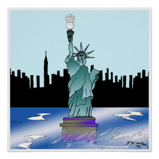 Statue of Liberty Saving Energy Poster