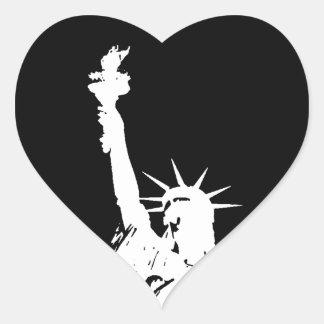 Statue of Liberty Silhouette Heart Sticker