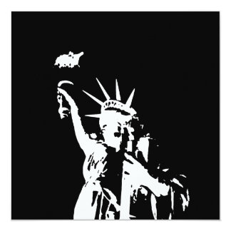 """Statue of Liberty Silhouette Invites 5.25"""" Square Invitation Card"""