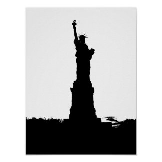 Statue of Liberty Silhouette Poster Print print