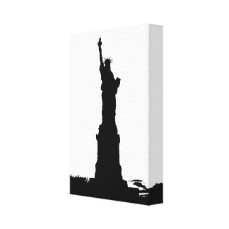Statue of Liberty Silhouette Wrapped Canvas