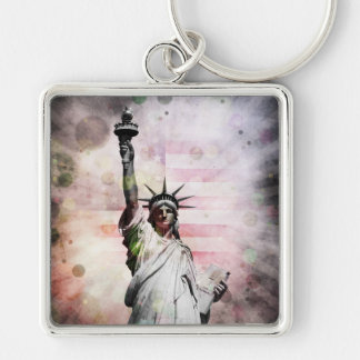 Statue of Liberty Silver-Colored Square Keychain