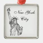 Statue of Liberty Square Metal Christmas Ornament
