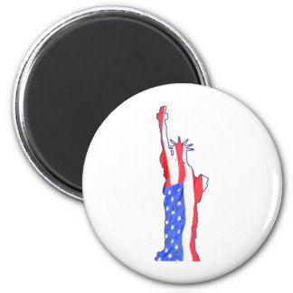 statue of liberty, stars stripes, red white blue 2 inch round magnet