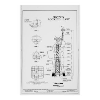 Statue of Liberty Structural Schematic Poster