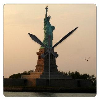 Statue of Liberty-Sundown Square Wall Clock